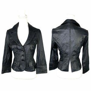 Bebe black leather jacket cropped size small